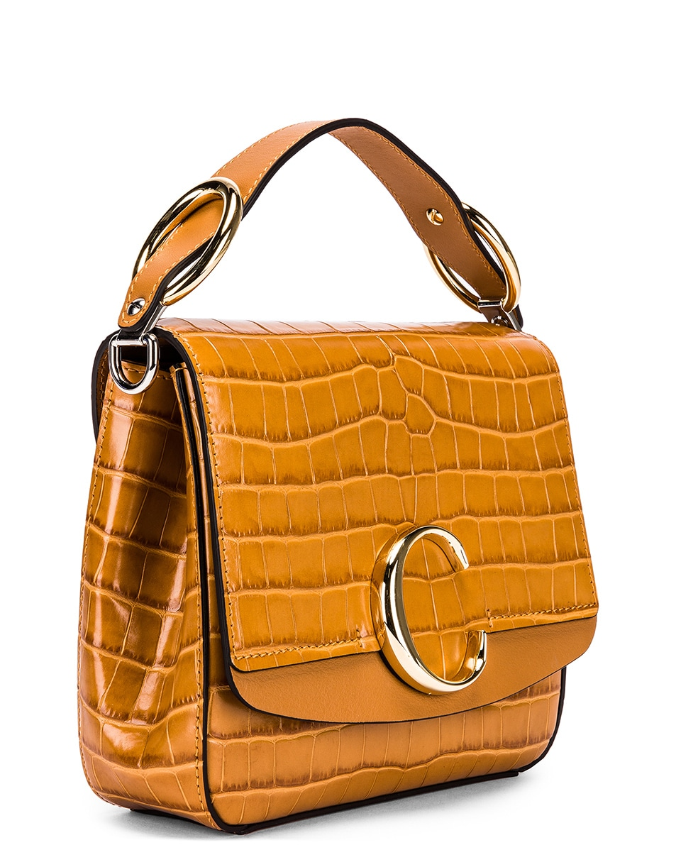 Image 4 of Chloe Small C Embossed Croc Box Bag in Autumnal Brown