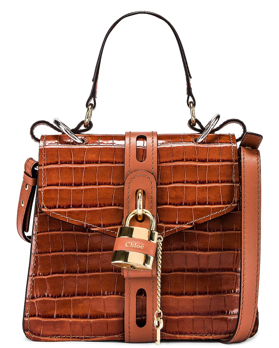 Image 1 of Chloe Small Aby Embossed Croc Day Bag in Chestnut Brown