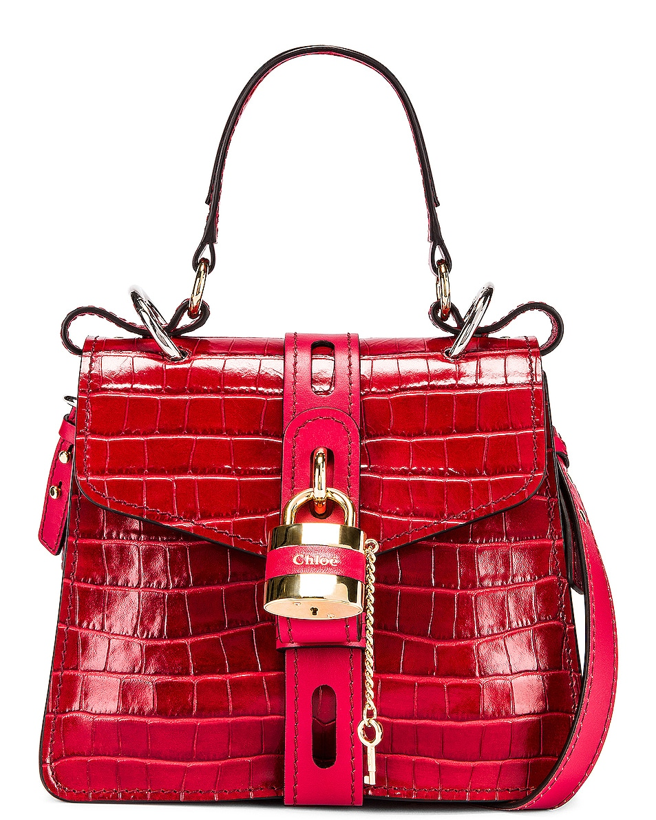 Image 1 of Chloe Small Aby Embossed Croc Day Bag in Dusky Red