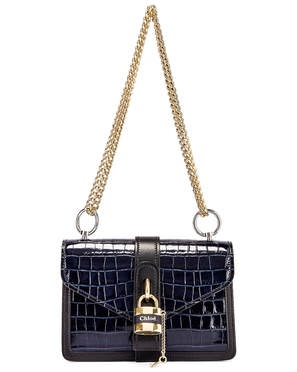 Image 1 of Chloe Aby Embossed Croc Chain Shoulder Bag in Full Blue