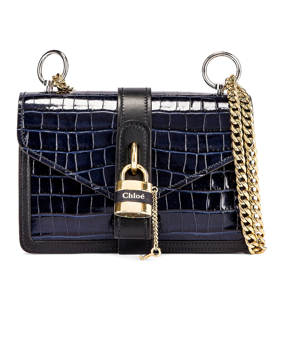 Image 3 of Chloe Aby Embossed Croc Chain Shoulder Bag in Full Blue