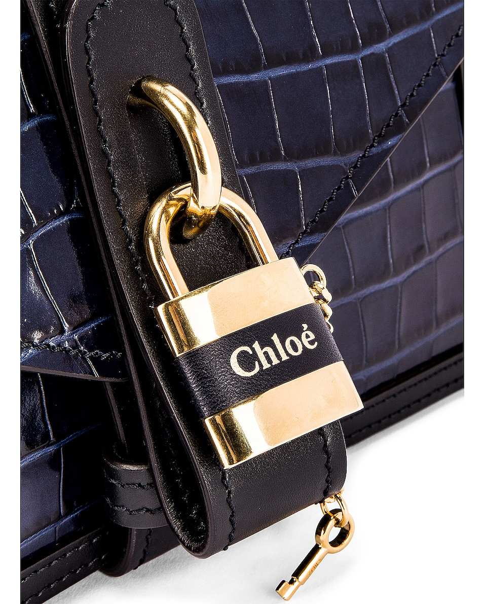 Image 4 of Chloe Aby Embossed Croc Chain Shoulder Bag in Full Blue