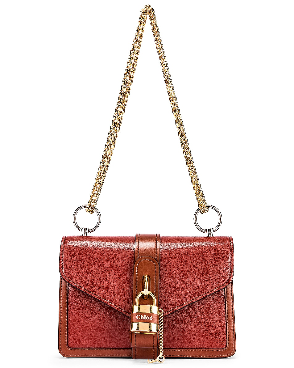 Image 1 of Chloe Aby Chain Shoulder Bag in Burnt Mahogany