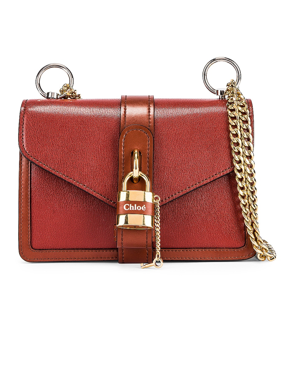 Image 3 of Chloe Aby Chain Shoulder Bag in Burnt Mahogany