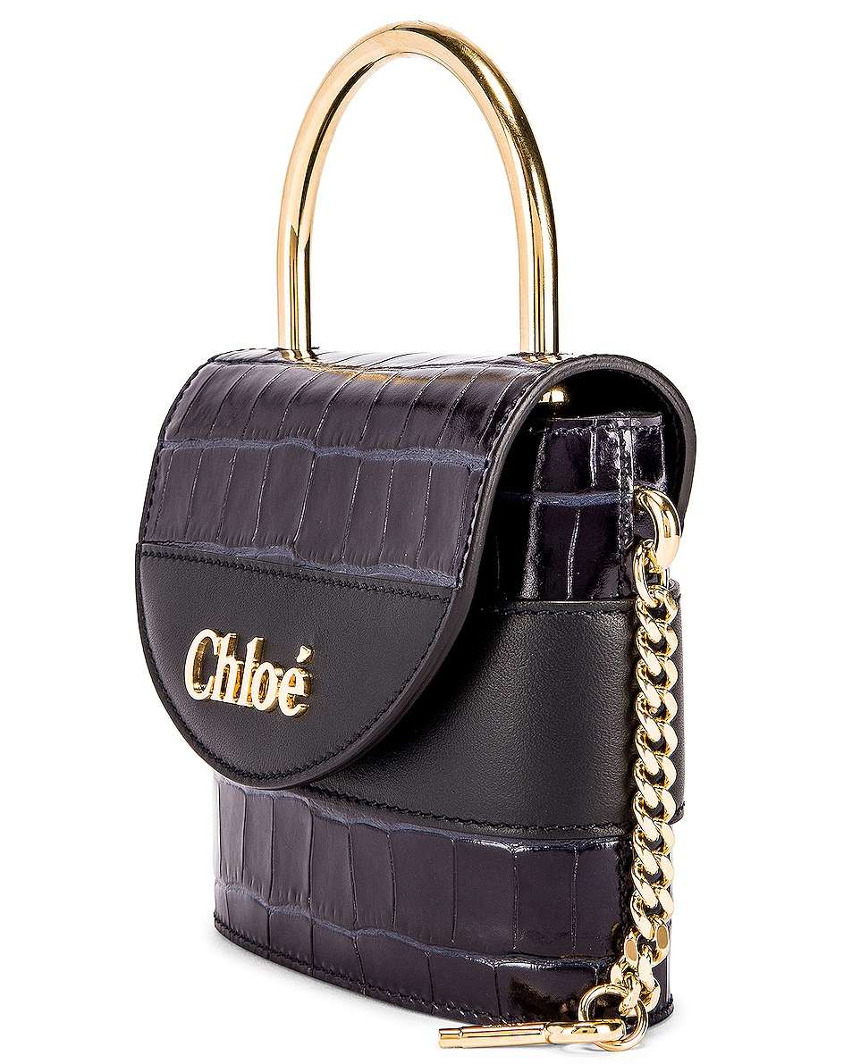 Image 4 of Chloe Small Abylock Embossed Croc Padlock Bag in Full Blue