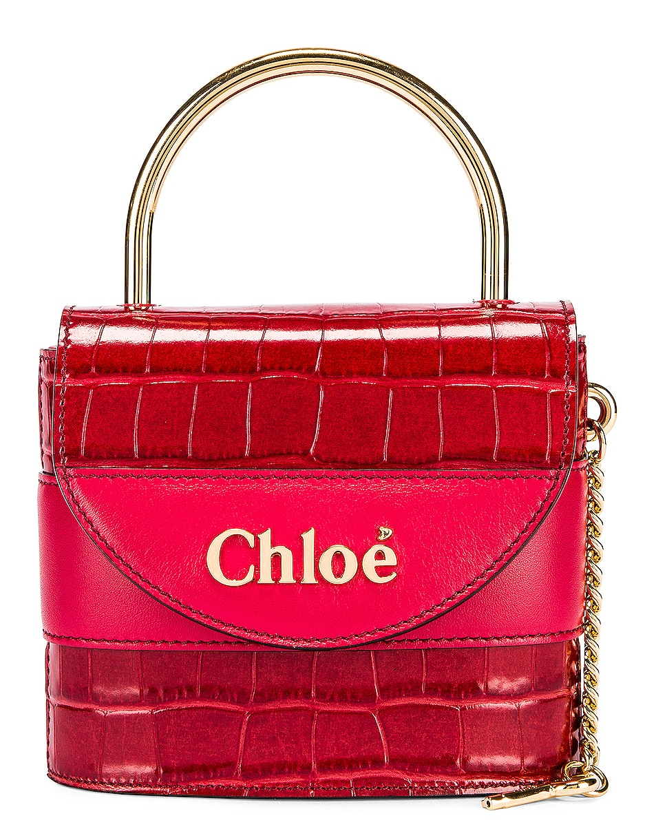 Image 1 of Chloe Small Abylock Embossed Croc Padlock Bag in Dusky Red