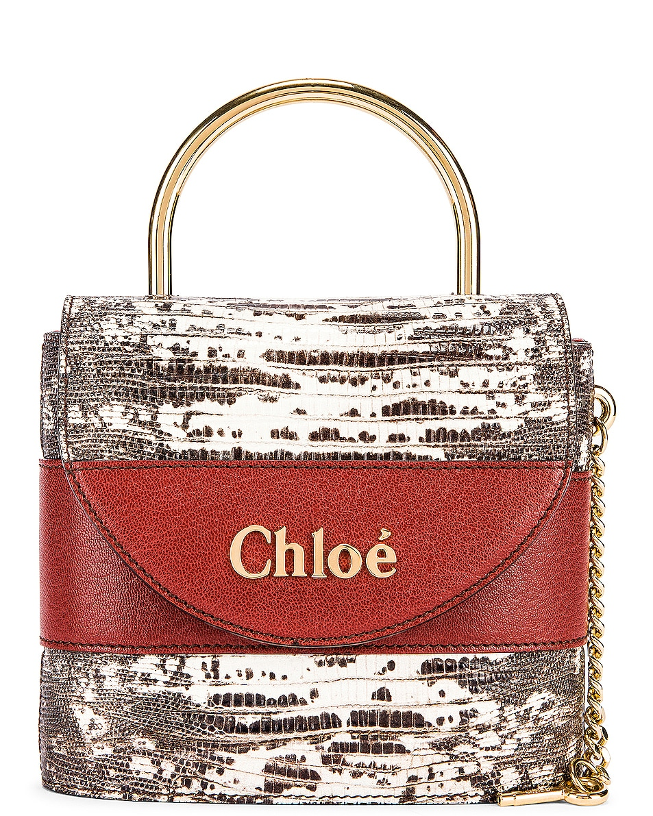 Image 1 of Chloe Small Abylock Embossed Lizard Padlock Bag in Sepia Brown