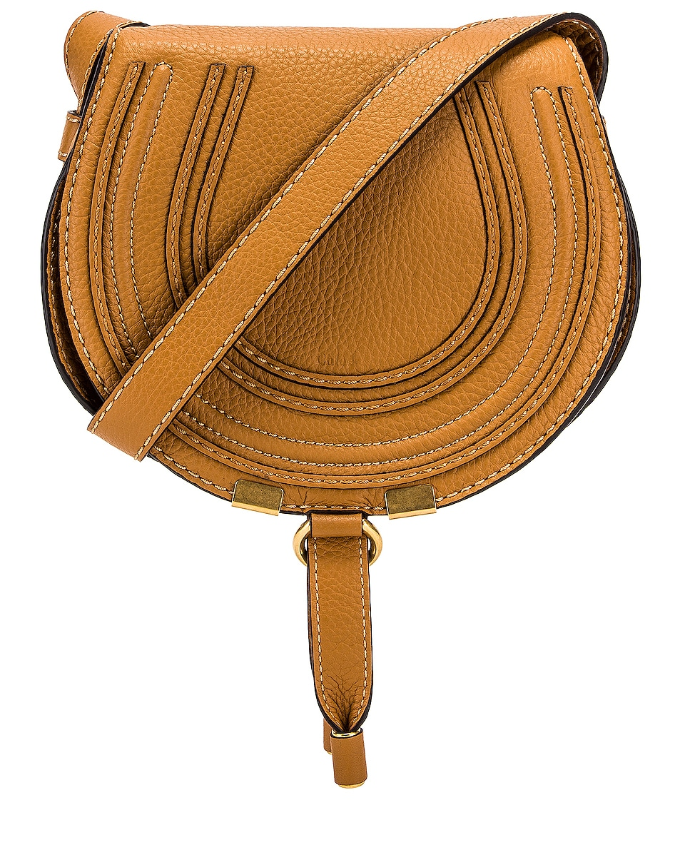 Image 1 of Chloe Small Marcie Grained Calfskin Saddle Bag in Autumal Brown