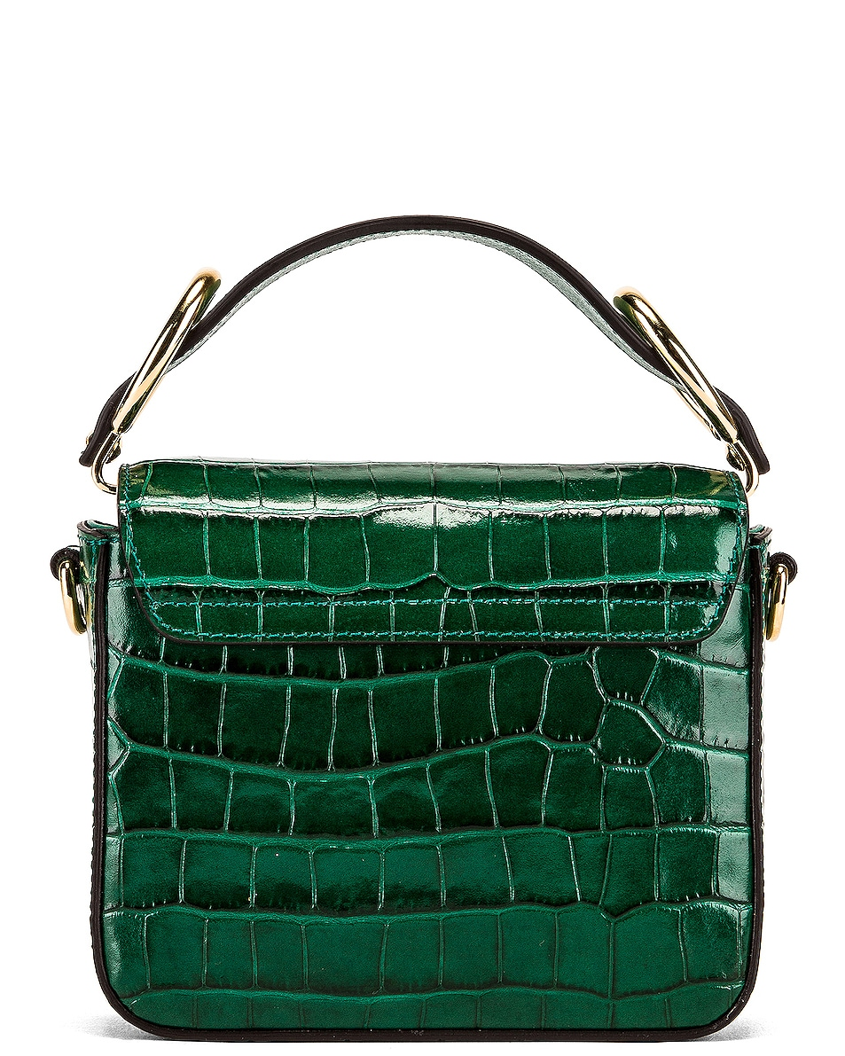 Image 3 of Chloe Mini C Embossed Croc Crossbody Bag in Woodsy Green