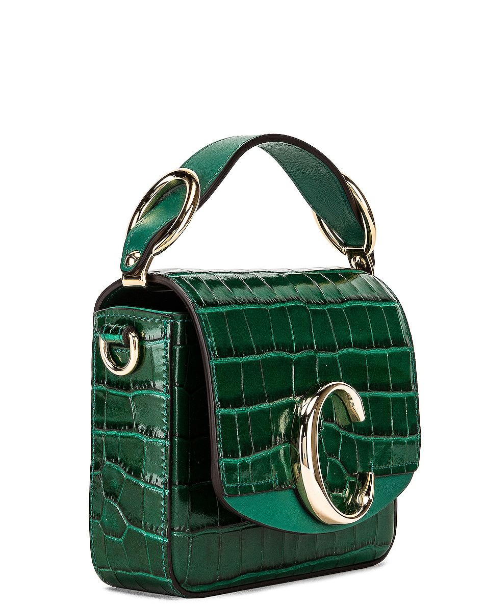 Image 4 of Chloe Mini C Embossed Croc Crossbody Bag in Woodsy Green