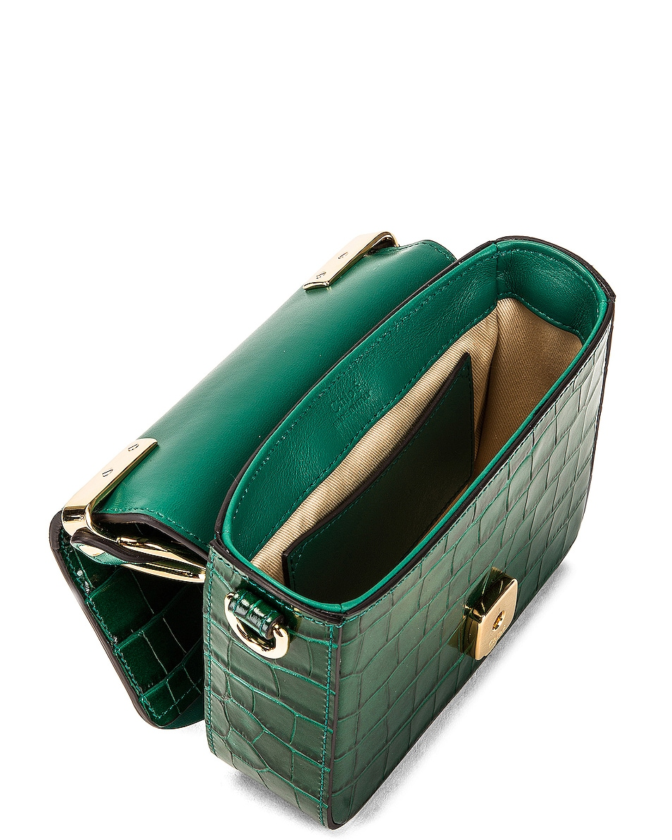 Image 5 of Chloe Mini C Embossed Croc Crossbody Bag in Woodsy Green