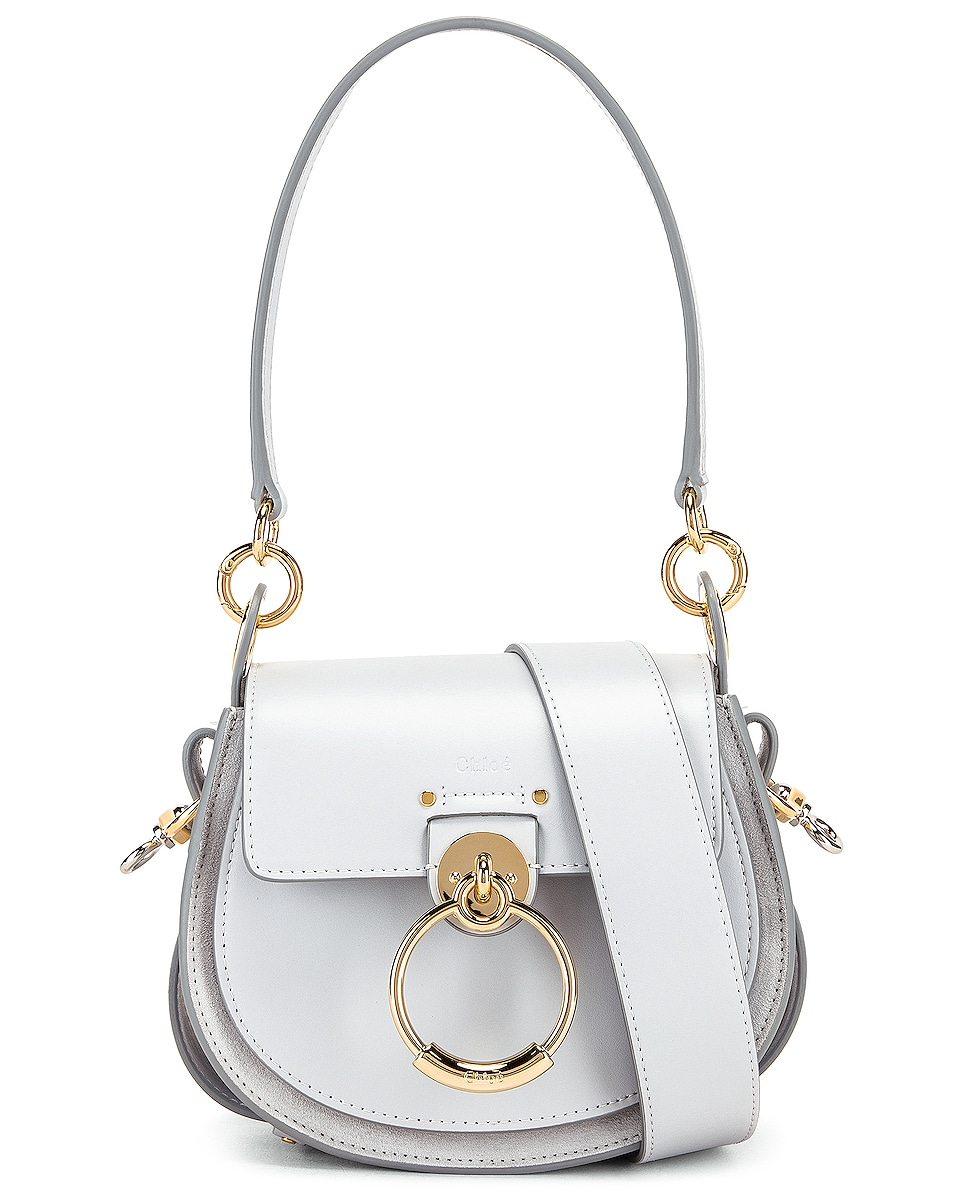 Image 1 of Chloe Small Tess Shiny Calfskin Shoulder Bag in Light Cloud