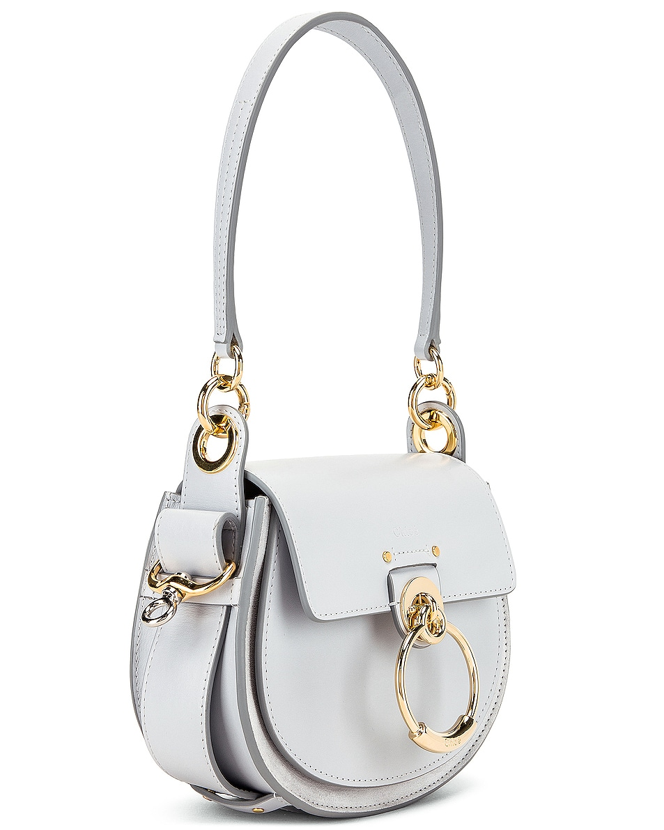 Image 4 of Chloe Small Tess Shiny Calfskin Shoulder Bag in Light Cloud