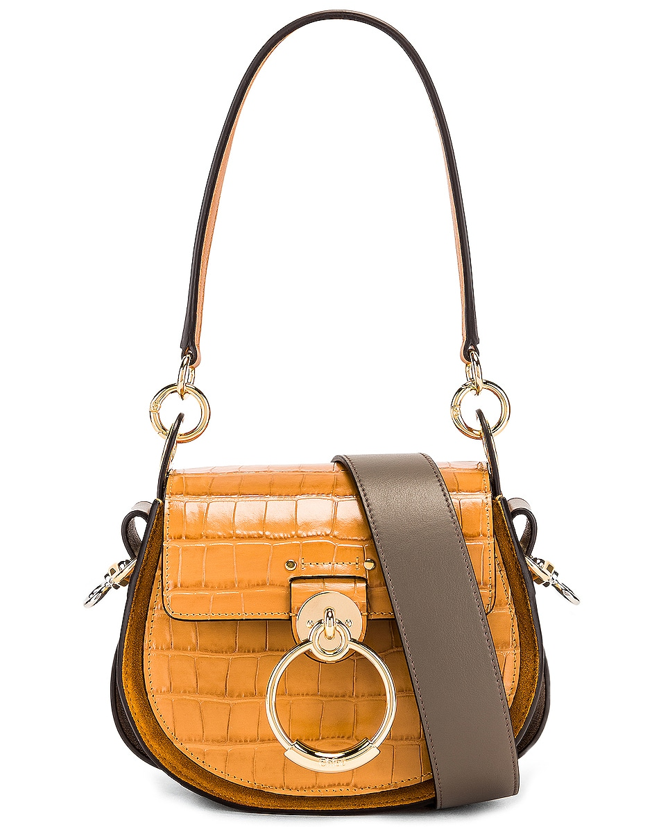 Image 1 of Chloe Small Tess Embossed Croco Shoulder Bag in Autumnal Brown