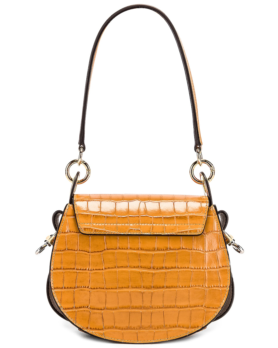 Image 3 of Chloe Small Tess Embossed Croco Shoulder Bag in Autumnal Brown