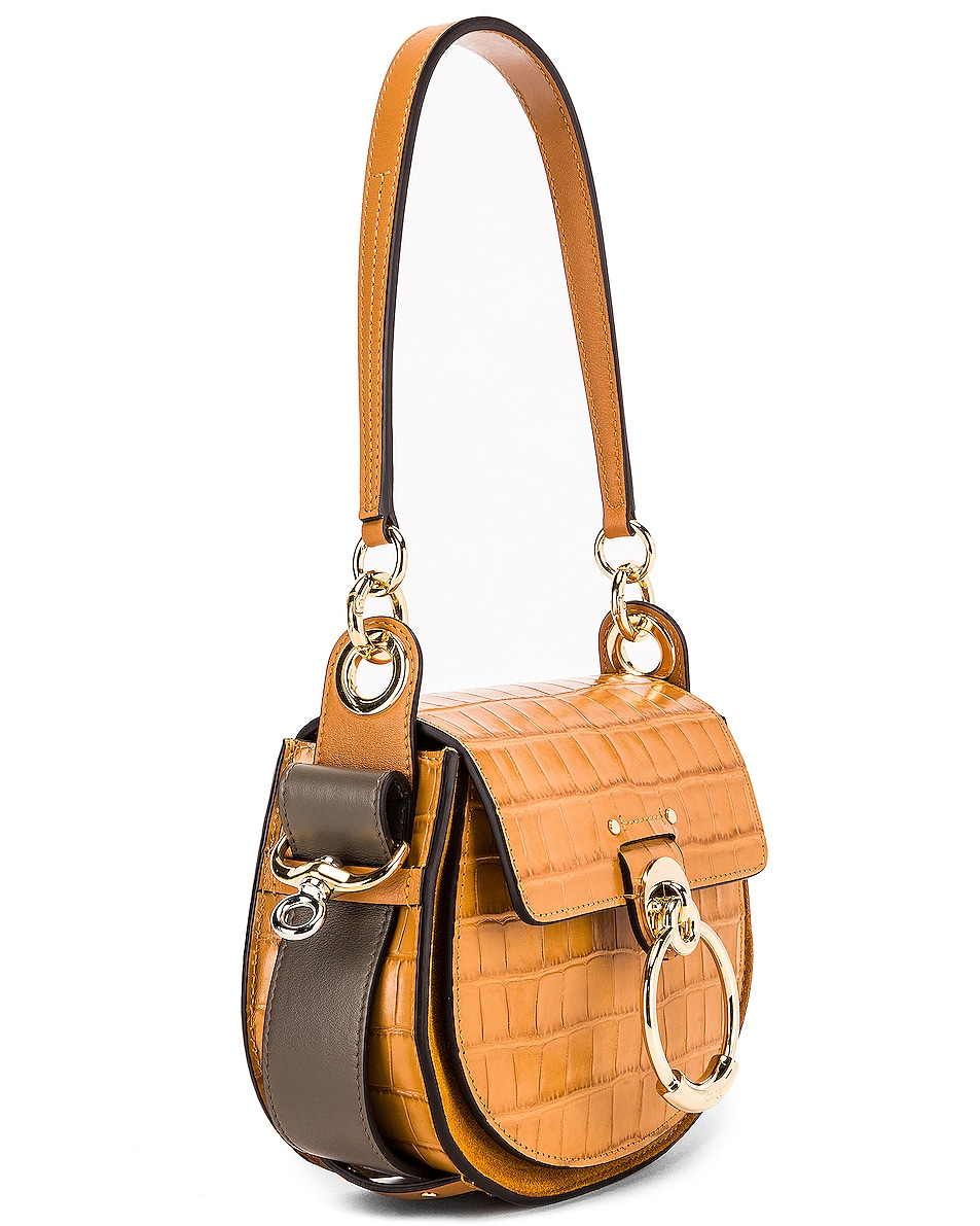 Image 4 of Chloe Small Tess Embossed Croco Shoulder Bag in Autumnal Brown