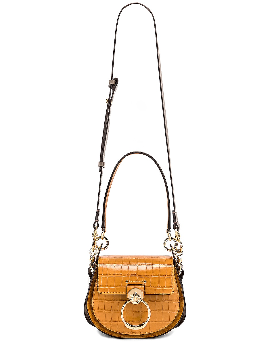 Image 6 of Chloe Small Tess Embossed Croco Shoulder Bag in Autumnal Brown