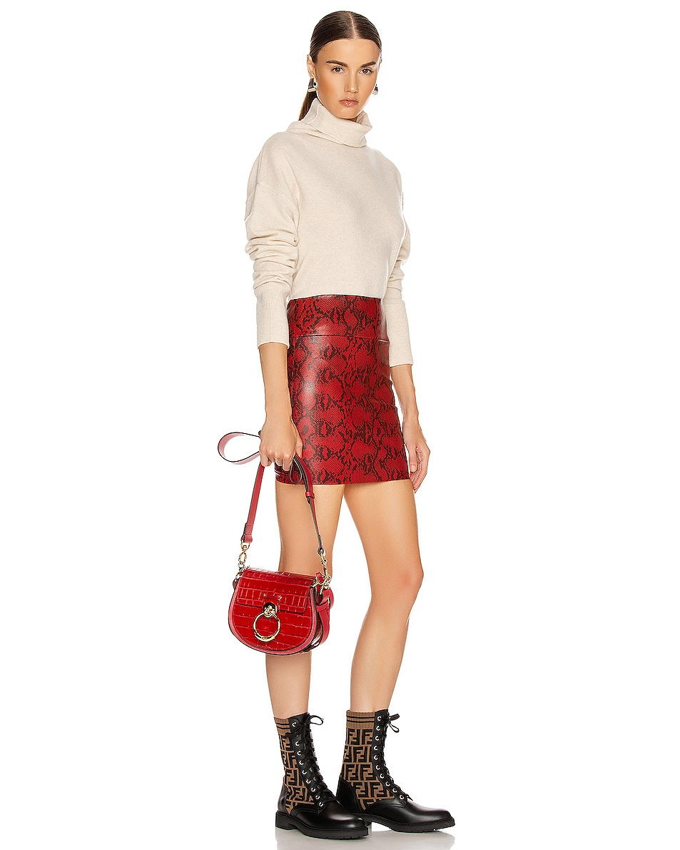 Image 2 of Chloe Small Tess Embossed Croco Shoulder Bag in Dusky Red