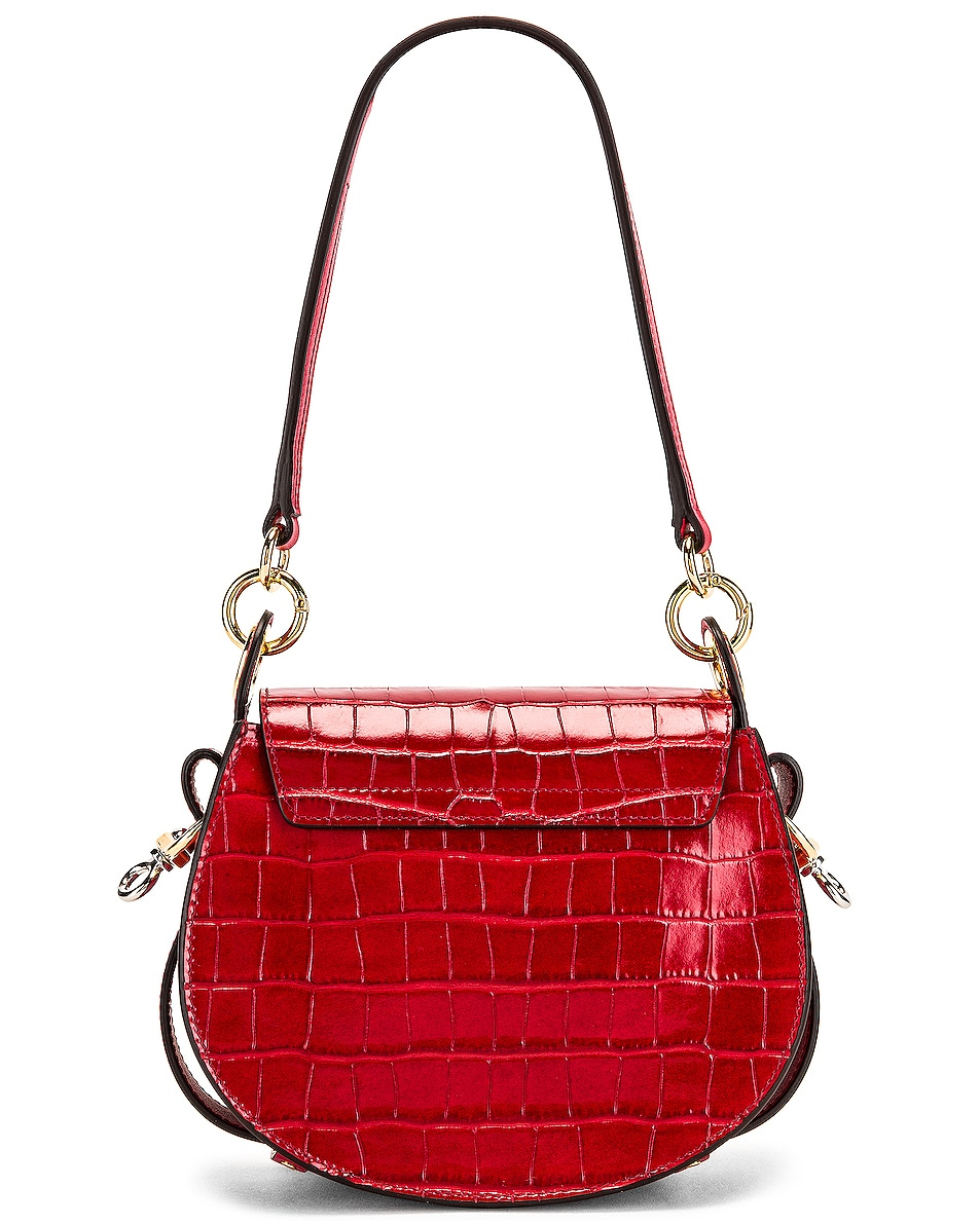 Image 3 of Chloe Small Tess Embossed Croco Shoulder Bag in Dusky Red
