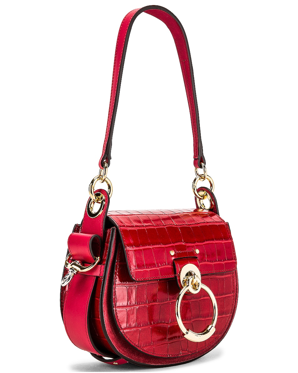 Image 4 of Chloe Small Tess Embossed Croco Shoulder Bag in Dusky Red