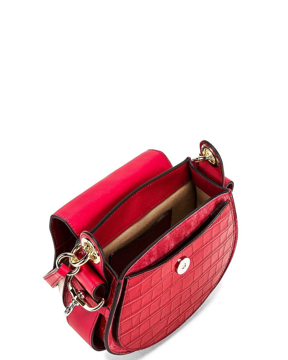 Image 5 of Chloe Small Tess Embossed Croco Shoulder Bag in Dusky Red