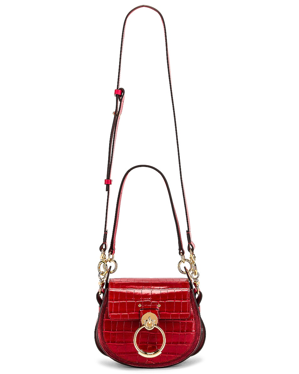 Image 6 of Chloe Small Tess Embossed Croco Shoulder Bag in Dusky Red
