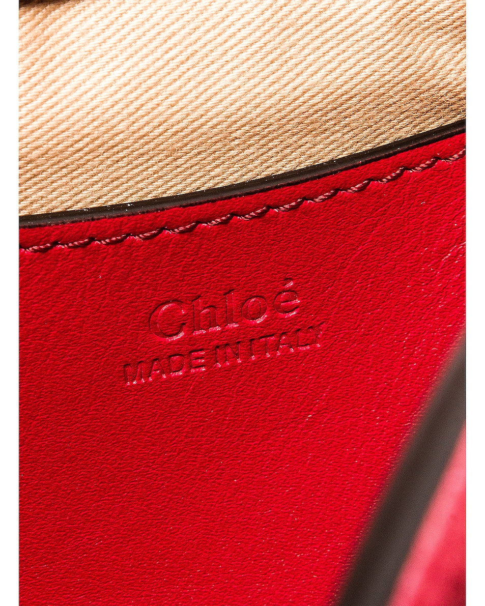 Image 7 of Chloe Small Tess Embossed Croco Shoulder Bag in Dusky Red