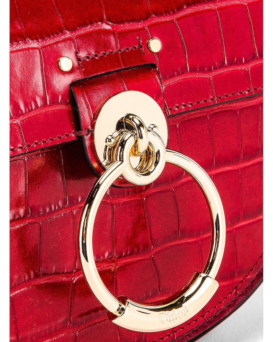 Image 8 of Chloe Small Tess Embossed Croco Shoulder Bag in Dusky Red