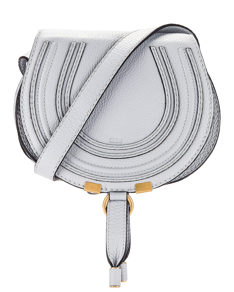 Image 1 of Chloe Small Marcie Grained Calfskin Saddle Bag in Light Cloud