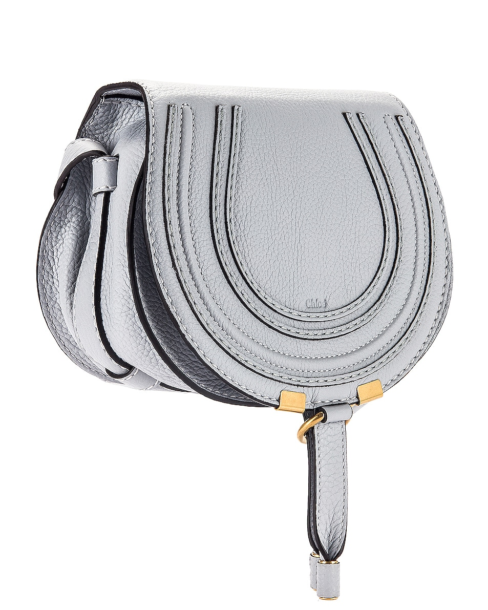 Image 4 of Chloe Small Marcie Grained Calfskin Saddle Bag in Light Cloud