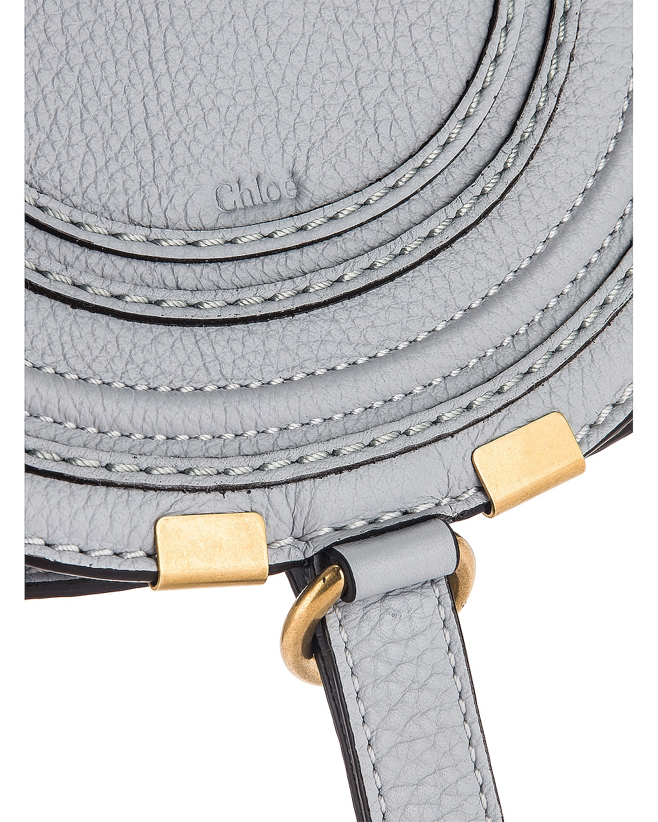 Image 8 of Chloe Small Marcie Grained Calfskin Saddle Bag in Light Cloud
