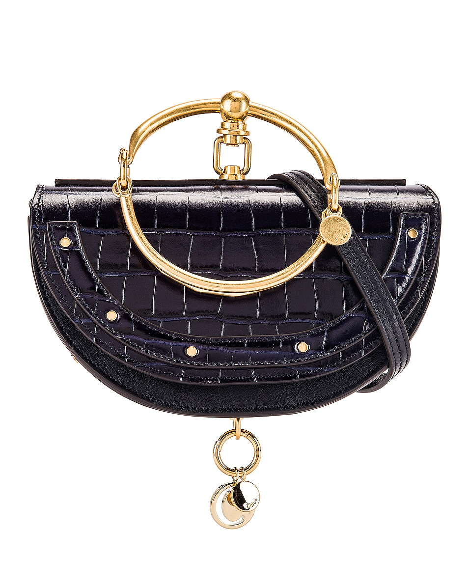 Image 1 of Chloe Small Nile Embossed Croco Minaudiere in Full Blue