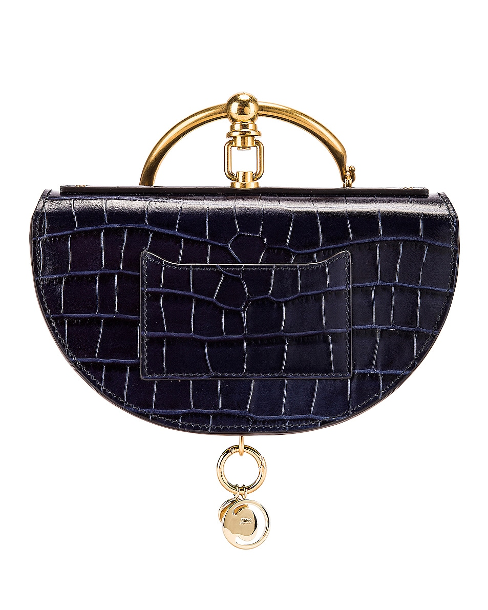 Image 3 of Chloe Small Nile Embossed Croco Minaudiere in Full Blue