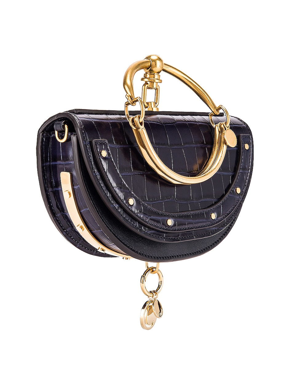 Image 4 of Chloe Small Nile Embossed Croco Minaudiere in Full Blue