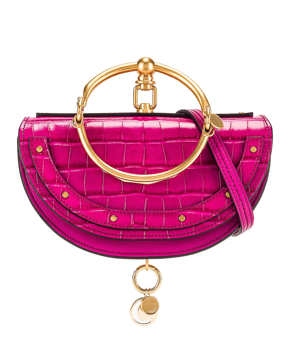Image 1 of Chloe Small Nile Embossed Croco Minaudiere in Graphic Pink