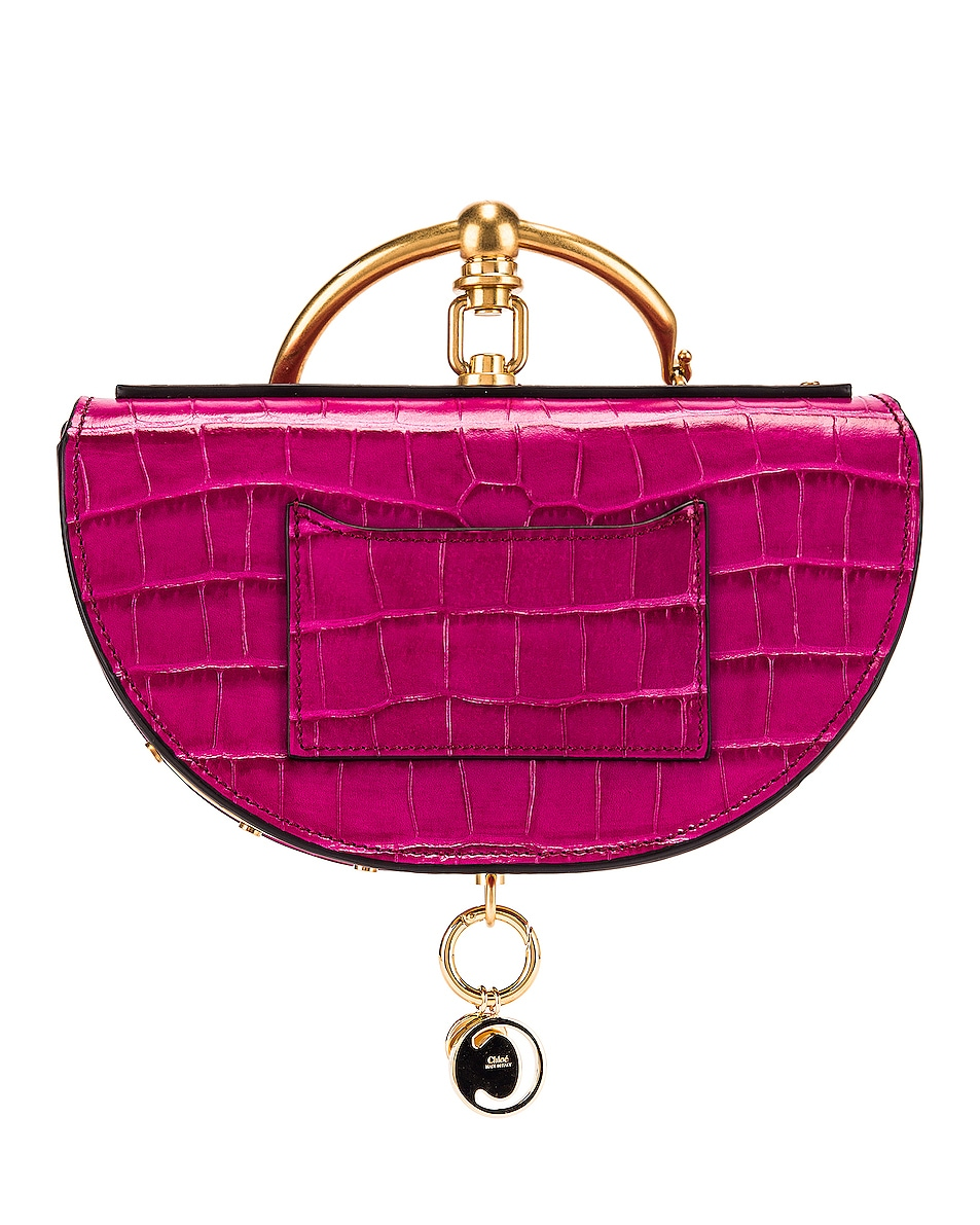 Image 3 of Chloe Small Nile Embossed Croco Minaudiere in Graphic Pink