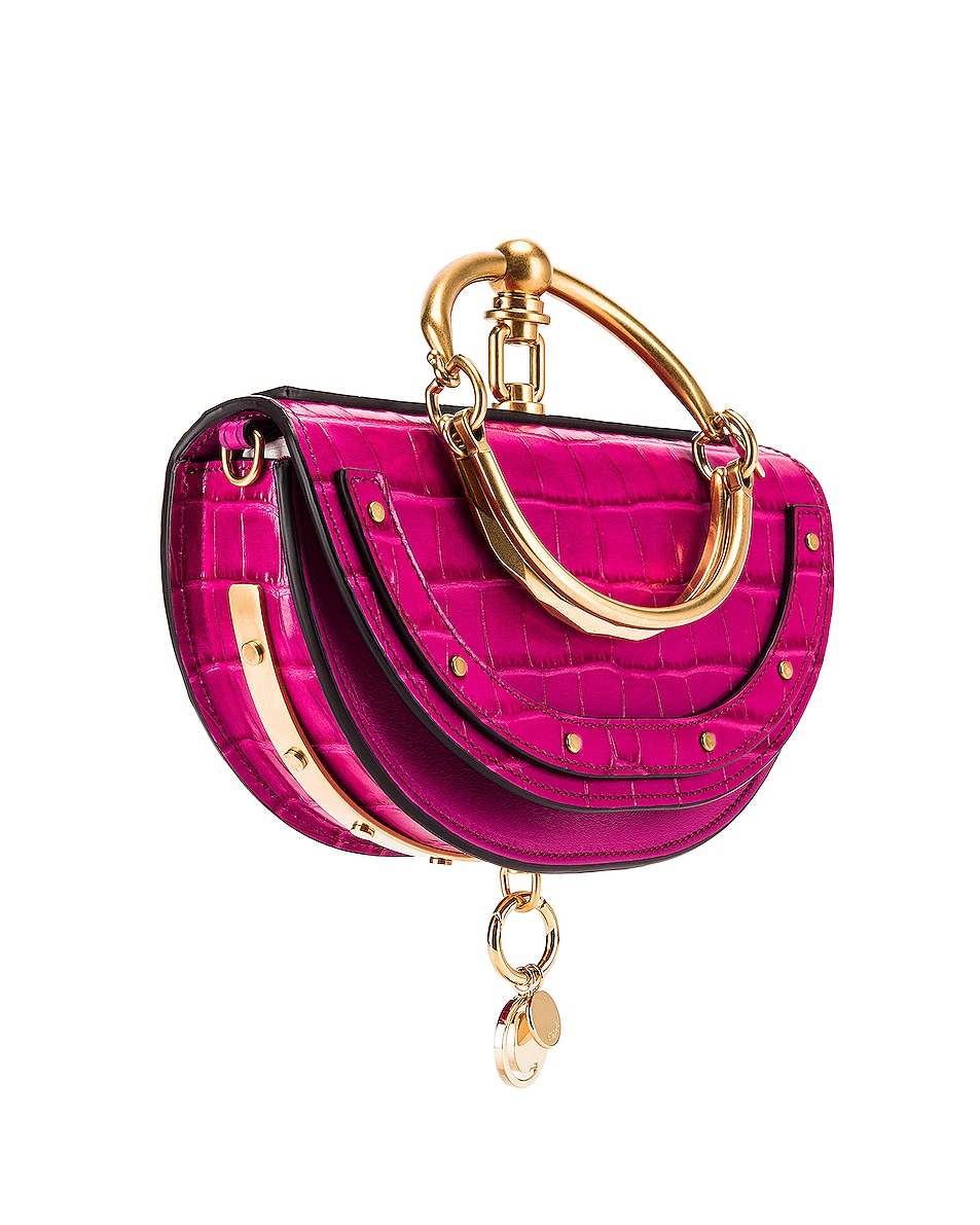 Image 4 of Chloe Small Nile Embossed Croco Minaudiere in Graphic Pink