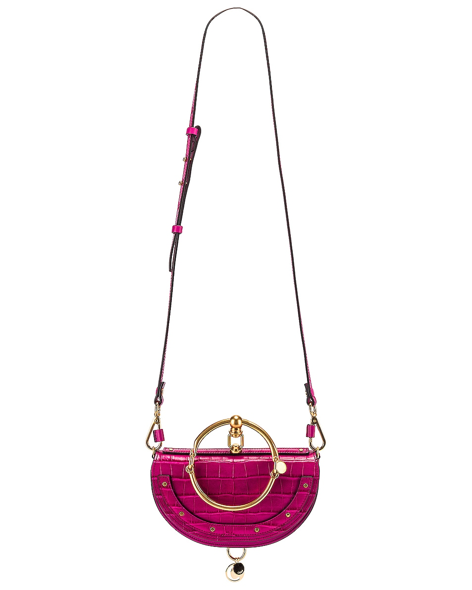 Image 6 of Chloe Small Nile Embossed Croco Minaudiere in Graphic Pink