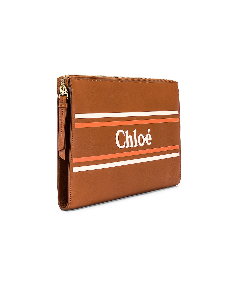 Image 4 of Chloe Logo & Stripes Pouch in Caramel