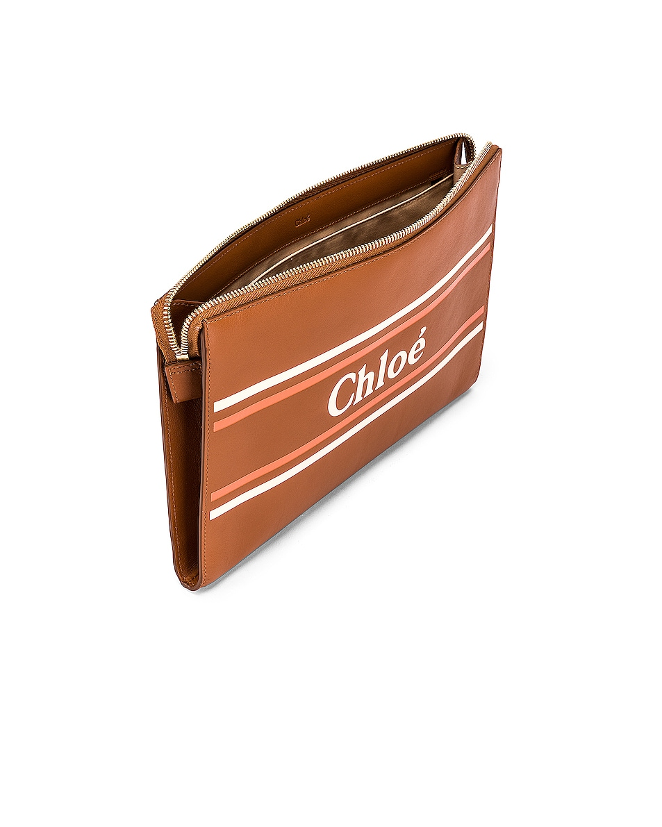 Image 5 of Chloe Logo & Stripes Pouch in Caramel
