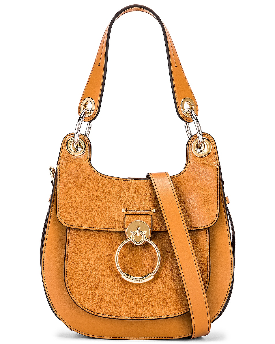 Image 1 of Chloe Small Tess Leather Hobo Bag in Autumnal Brown
