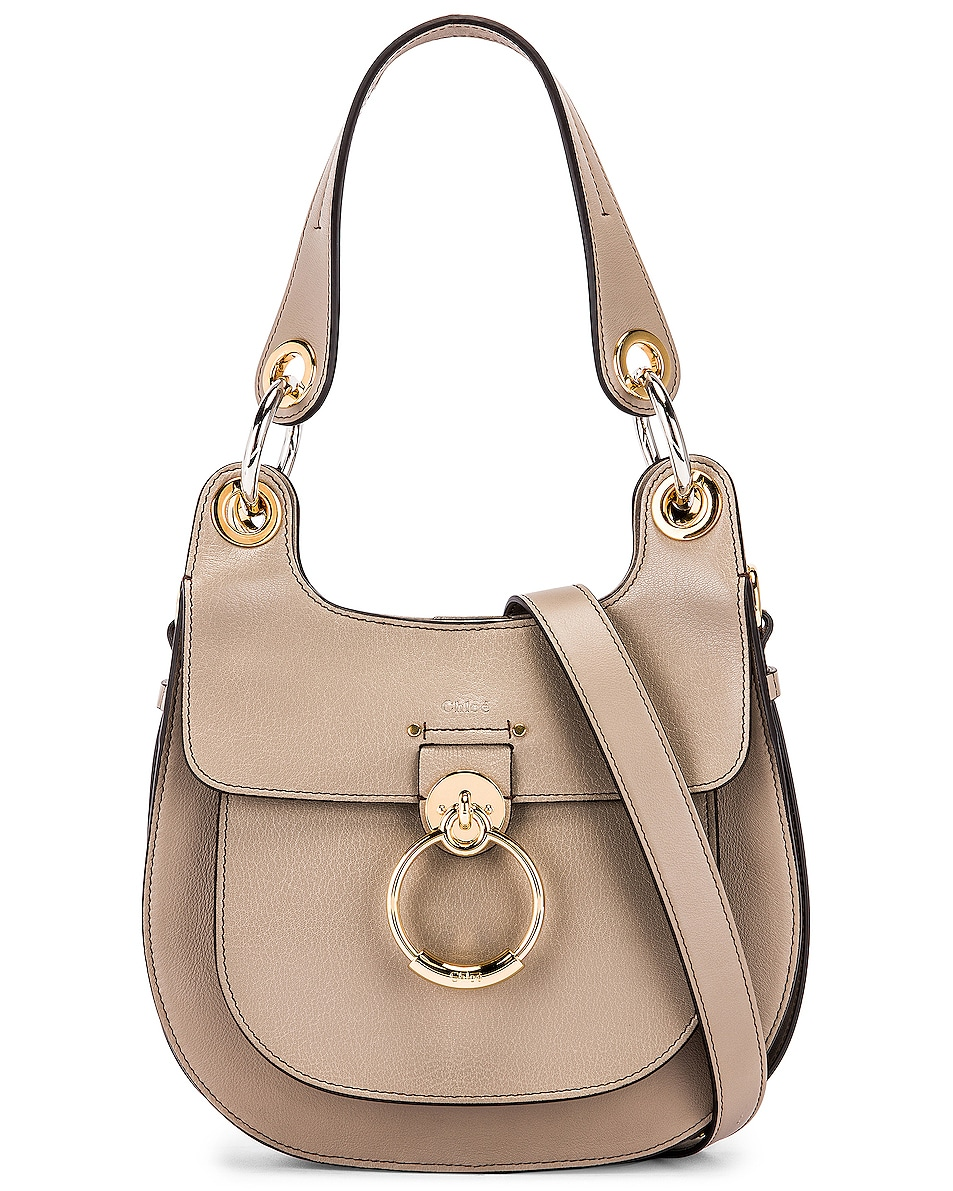 Image 1 of Chloe Small Tess Leather Hobo Bag in Motty Grey