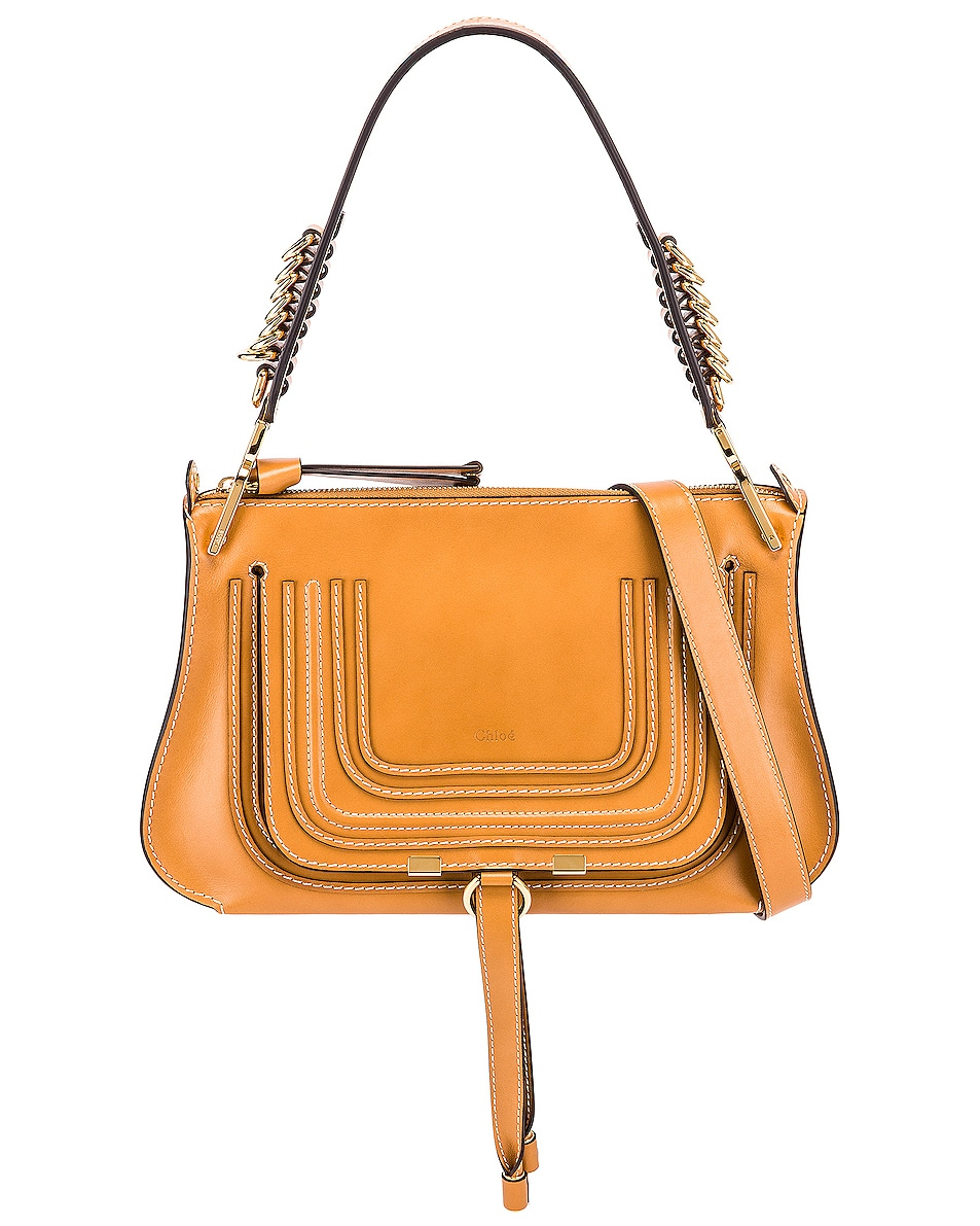 Image 1 of Chloe Medium Marcie Leather Saddle Bag in Autumnal Brown