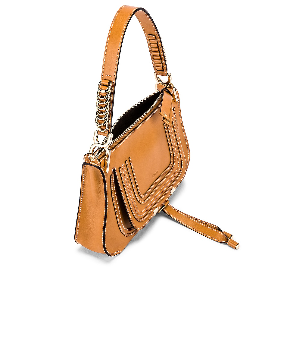 Image 5 of Chloe Medium Marcie Leather Saddle Bag in Autumnal Brown