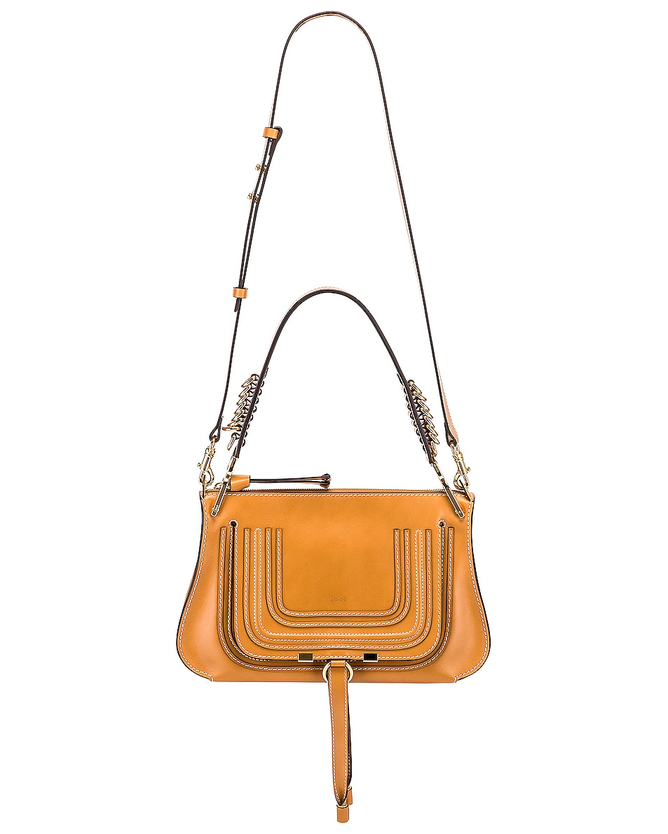 Image 6 of Chloe Medium Marcie Leather Saddle Bag in Autumnal Brown