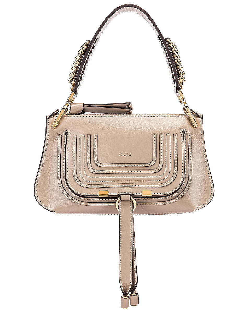 Image 1 of Chloe Small Marcie Leather Saddle Bag in Motty Grey