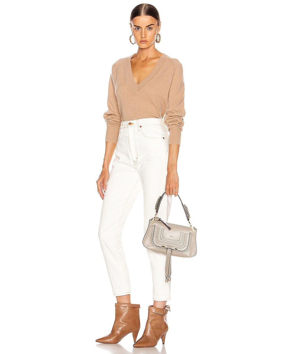 Image 2 of Chloe Small Marcie Leather Saddle Bag in Motty Grey