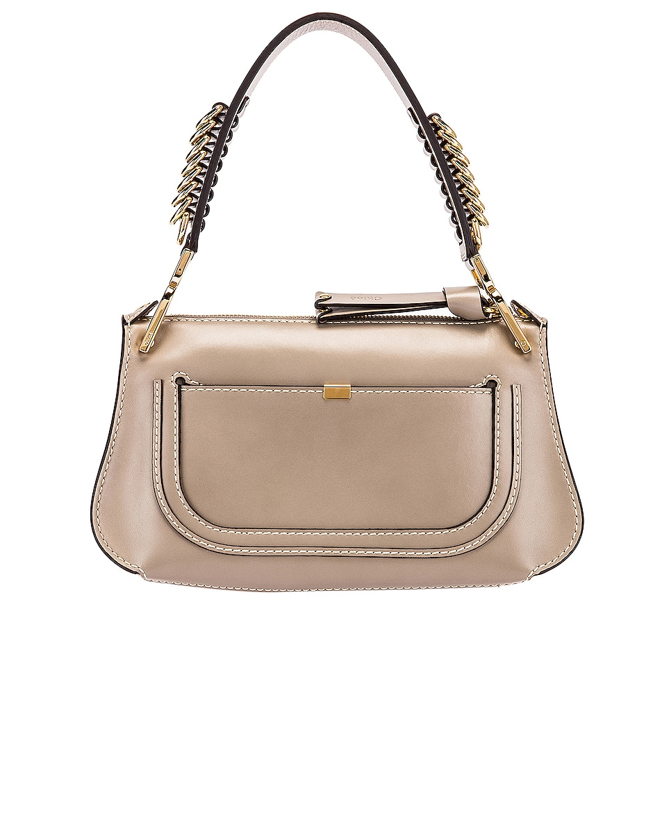 Image 3 of Chloe Small Marcie Leather Saddle Bag in Motty Grey