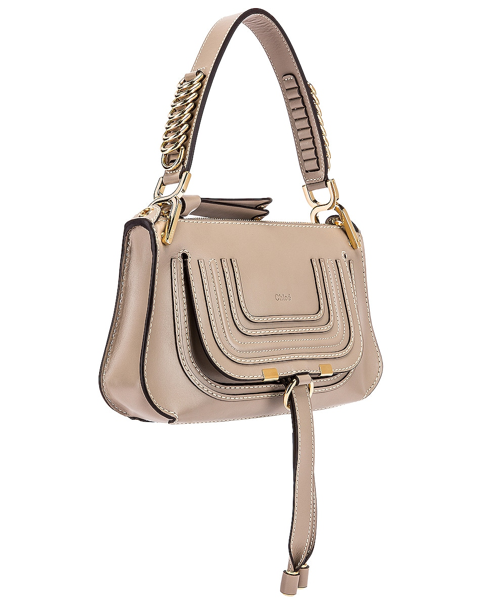 Image 4 of Chloe Small Marcie Leather Saddle Bag in Motty Grey