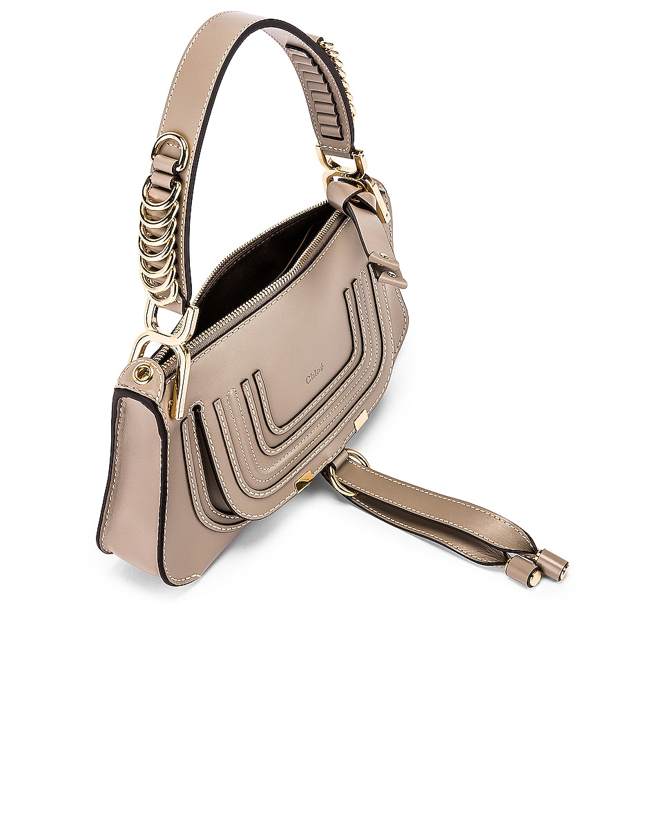 Image 5 of Chloe Small Marcie Leather Saddle Bag in Motty Grey